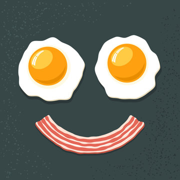Smiling breakfast. Two fried eggs and bacon. Funny cartoon vecto