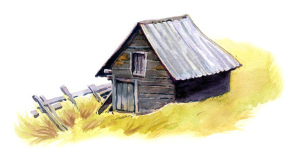 Grey old barn on yellow grass, painted with watercolours