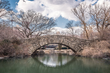 Gapstow bridge in early spring, Central Park, New York City