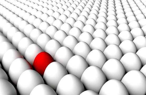 Multitude endless standing white eggs back to back and red one. Concept of diversity or anomaly or virus detection or quality control or selection