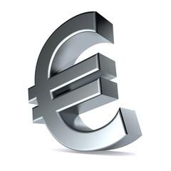 3d Illustration featuring mettalic Euro symbol on white