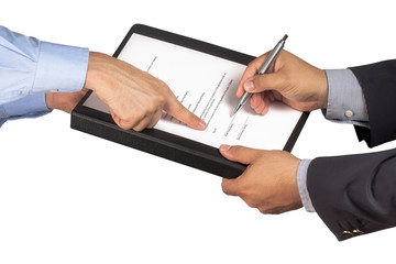businessman or salesman hand pointing on contract where customer or partner is signing with ballpoint isolated
