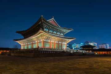Korea,Gyeongbokgung palace at night in Seoul, South Korea.