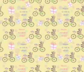cute baby bear rides on bike