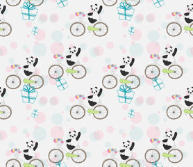 cute baby Panda on bike