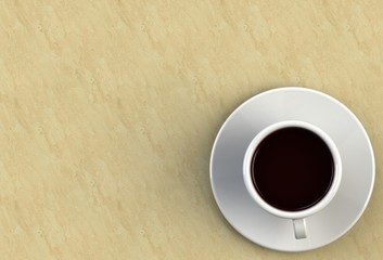 3D rendering coffee cup on stone table