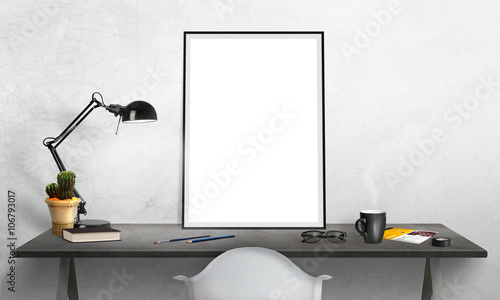 isolated poster frame on office desk for mockup lamp cactus