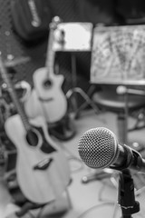 selective focus microphone and blur musical equipment guitar ,ba