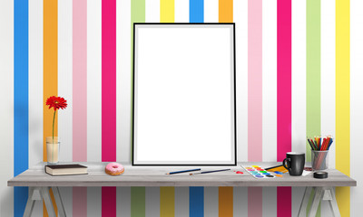 Isolated poster frame on office desk for mockup. Water colors, pencils, glasses, flowers, cup of coffee on table. Colorful wallpaper in background.