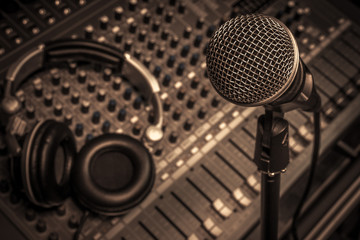 microphone,headphone,sound mixer background.