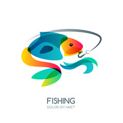 Abstract colorful fish and fishing hook. Vector fishing logo, label, emblem design elements. Trendy isolated illustration.