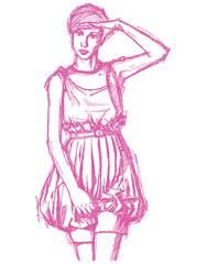 Sketch womanwith hand near her head