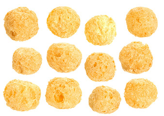 Corn balls snack on white