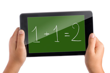 Kid hands holding tablet pc displaying math expression one and one is two isolated