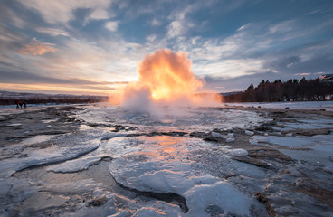 The Strokkur Geyser erupting at the Haukadalur geothermal area, part of the golden circle route, in Iceland