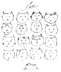 Set of ink cats faces, drawn freehand with liquid dye, emotional