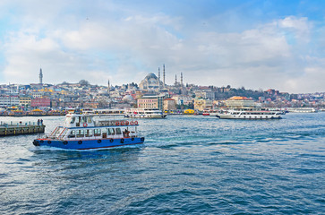 The ferries in the Golden Horn Bay
