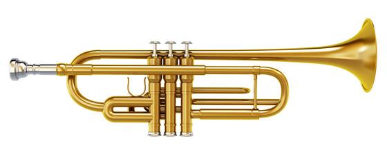 Brass trombone isolated on white background