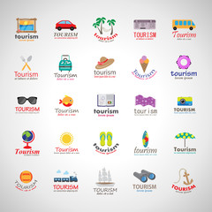 Summer Icons Set-Isolated On Gray Background.Vector Illustration,Graphic Design.Vacation Signs.For Web,Websites,Print,Presentation Templates, Mobile Applications And Promotional Materials.Collection