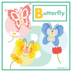 Butterfly with friends in learning English Animals A to Z