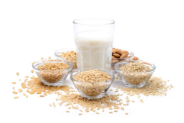 Vegetable milk, ingredients: oats, rice, almonds, soy, Khorasan wheat