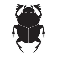 Egypt scarab  silhouette vector illustration. Scarab silhouette on white background. Scarab beetle vector. Scarab illustration.