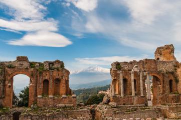 Griechisch-römisches Theater in Taormina; Sizilien; Italien