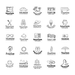Summer Icons Set-Isolated On Gray Background.Vector Illustration,Graphic Design.Vacation Signs.For Web,Websites,Print,Presentation Templates, Mobile Applications And Promotional Materials.Thin Line