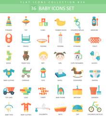 Vector Baby color flat icon set. Elegant style design.