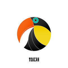 colorful, tropical bird icon isolated on white background. vector toucan logo design. wild, cute bird character. popular, stylized South America travel mascot. funny, exotic birds symbol