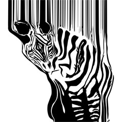black and white Zebra - abstraction turns into a bar-code for pictures strip