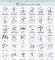 Vector Ecology outline icon set. Elegant thin line style design.