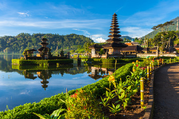 Self adhesive Wall Murals Indonesia Pura Ulun Danu Bratan at sunrise, famous temple on the lake, Bedugul, Bali, Indonesia.