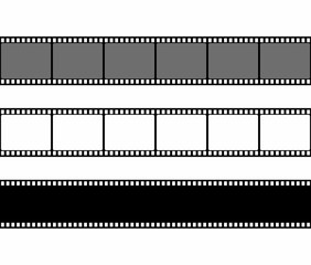 Film strip frame set in flat style isolated on white background. Design element