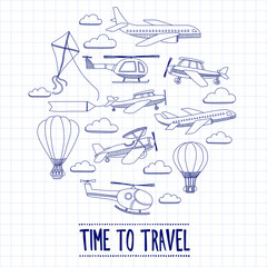 Doodle set of images Time to travel