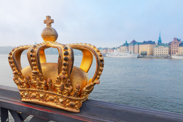 Poster Stockholm Royal crown and Stockholm cityscape