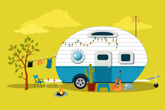 Cartoon travelling scene with a vintage camper, a fire pit, camping table and laundry line, EPS 8 vector illustration, no transparencies