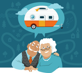 A senior couple dreaming about a camper trailer, cartoon road map on the background, EPS 8 vector illustration, no transparencies
