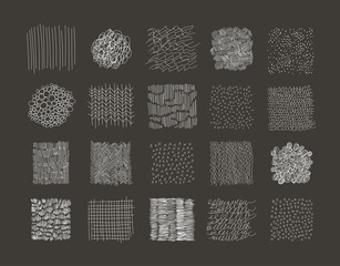 Collection of Hand Drawn textures. Vector. Isolated.