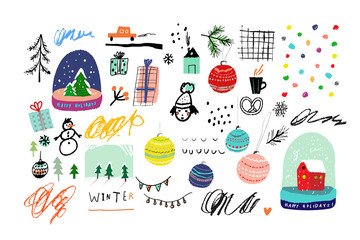 Collection of Cute hand drawn winter elements. Vector illustration. Templates for greeting scrapbooking, congratulations, invitations. Design set for winter holidays. Isolated.