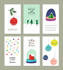 Collection of  Cute Christmas card templates. Christmas Posters set. Vector illustration. Templates for greeting scrapbooking, congratulations, invitations. Design set for winter holidays. Isolated.