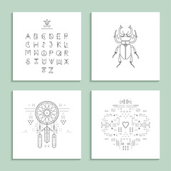 Collection of trendy cards with unusual geometric elements.