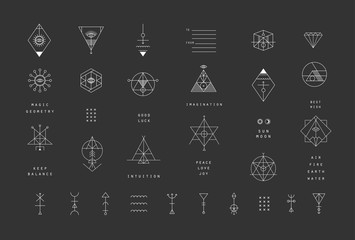 Set of vector trendy geometric icons. Alchemy symbols collection Wall mural