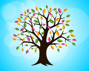 Colorful Leaves Tree Background