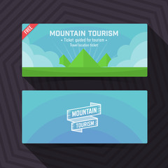 Mountain tourism template, ticket card design element.