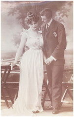 vintage photo  of happy young romantic couple