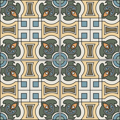 spanish tile vector - floral background