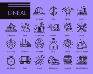 Line vector icons in a modern style. Heavy industry, delivery of goods by land, air and sea transport, species by professional activities, railways, conveyer