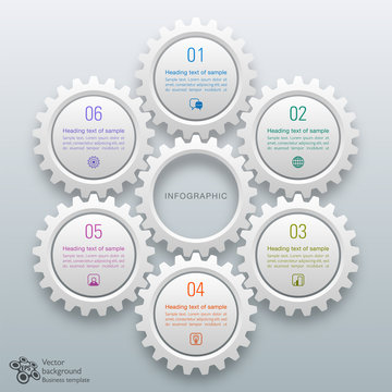 Gears and cogs graphics #Vector chart 6-Step Process