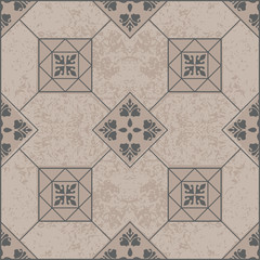 Brown ceramic tile with seamless, floral pattern